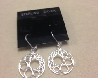 Handmade Sterling Silver Circle Earrings with Leverbacks