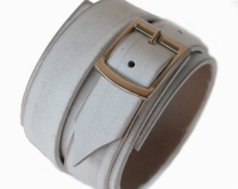 SB genuine leather bracelet leather cuff first class leather wristband men's bracelet worn white