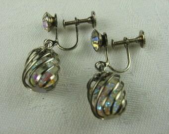 Clear Rhinestone Dangle Earrings, Crystal Drop Earrings, Caged Crystal, Dangle Earrings, Screw Back Earrings, Silver Tone, Clear AB Crystals