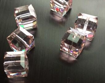 Swarovski Crystal AB 8mm Square Beads (6)