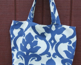 Blue and white tote bag  free shipping
