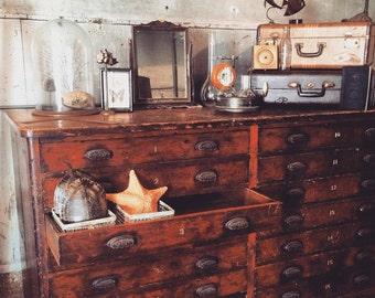 Vintage 18 drawer flat file cabinet