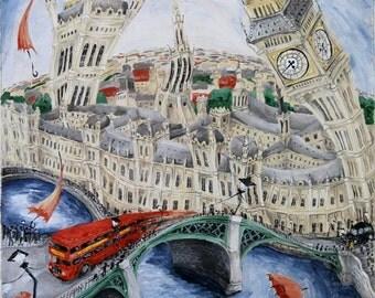 Westminster London Poster, Poster of Big Ben, Big Ben Print, London Print, London art print