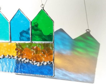 Fabulous Stained Glass Beach Huts by the Sea Suncatcher
