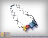 Geek statement necklace - e-Waste rainbow necklace - e-Waste repurposed - e-waste jewelry - Eco friendly necklace - Electronic jewelry