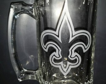 New Orleans Saints Sand Carved Glass Sport Mug