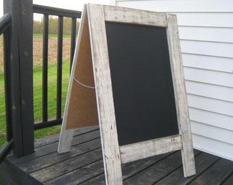 Ready to ship Rustic white 2 sided sidewalk chalkboard sandwich chalkboard easel A-frame chalk board double sided two sided farmhouse