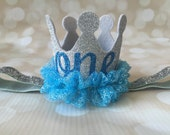 Birthday Crown Headband - First Birthday - Party Hat Crown - Glitter Silver Blue Princess Party Prop - Photo Prop - Alice in the Wonderland