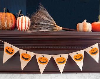 Halloween Decor, Halloween Decorations, Halloween Burlap Banner, Pumpkin Banner,  Scary Pumpkin Banner B099