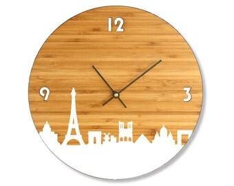 Paris Skyline Bamboo Clock