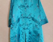 Vintage 1960's Blue Brocaded Kimono Jacket Coat Vintage Mid Century Oriental
