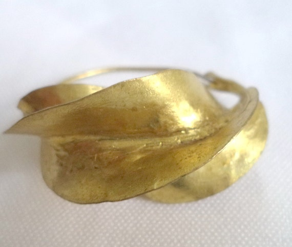 Fulani Earrings: GOLD Fulani Earrings African Tribal Hand Wrought Dramatic Gold