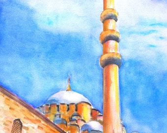 ORIGINAL Watercolor Painting, Istanbul Turkey, New Mosque, 12x16, Architecture, Minaret, Turkish, Landmark, Yeni Cami
