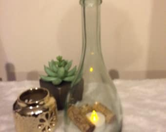Repurposed wine bottle Hurricane Lights