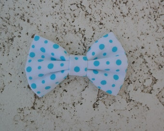 Turquoise polka dots clip on bowties