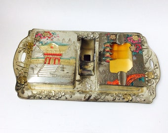 Vintage Japanese Nikko Asian Metal Smoking Set, Asian Smoking Tobacco Set Trays, Antique Collectible Ashtray Tobacco Cigarette Set
