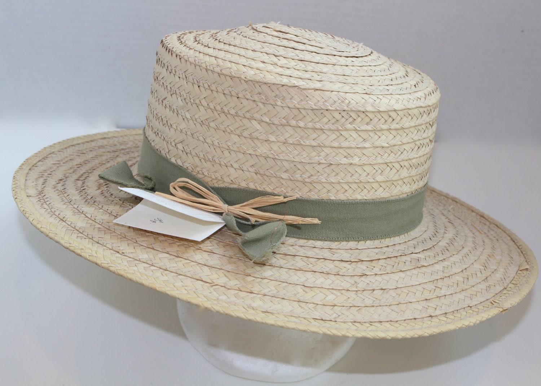 vintage straw wide brim hat s boater by