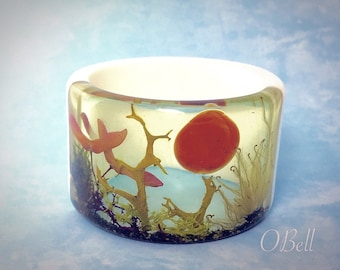 Fairly Forest Resin Bangle. Unique Resin Jewelry by Oksana Bell