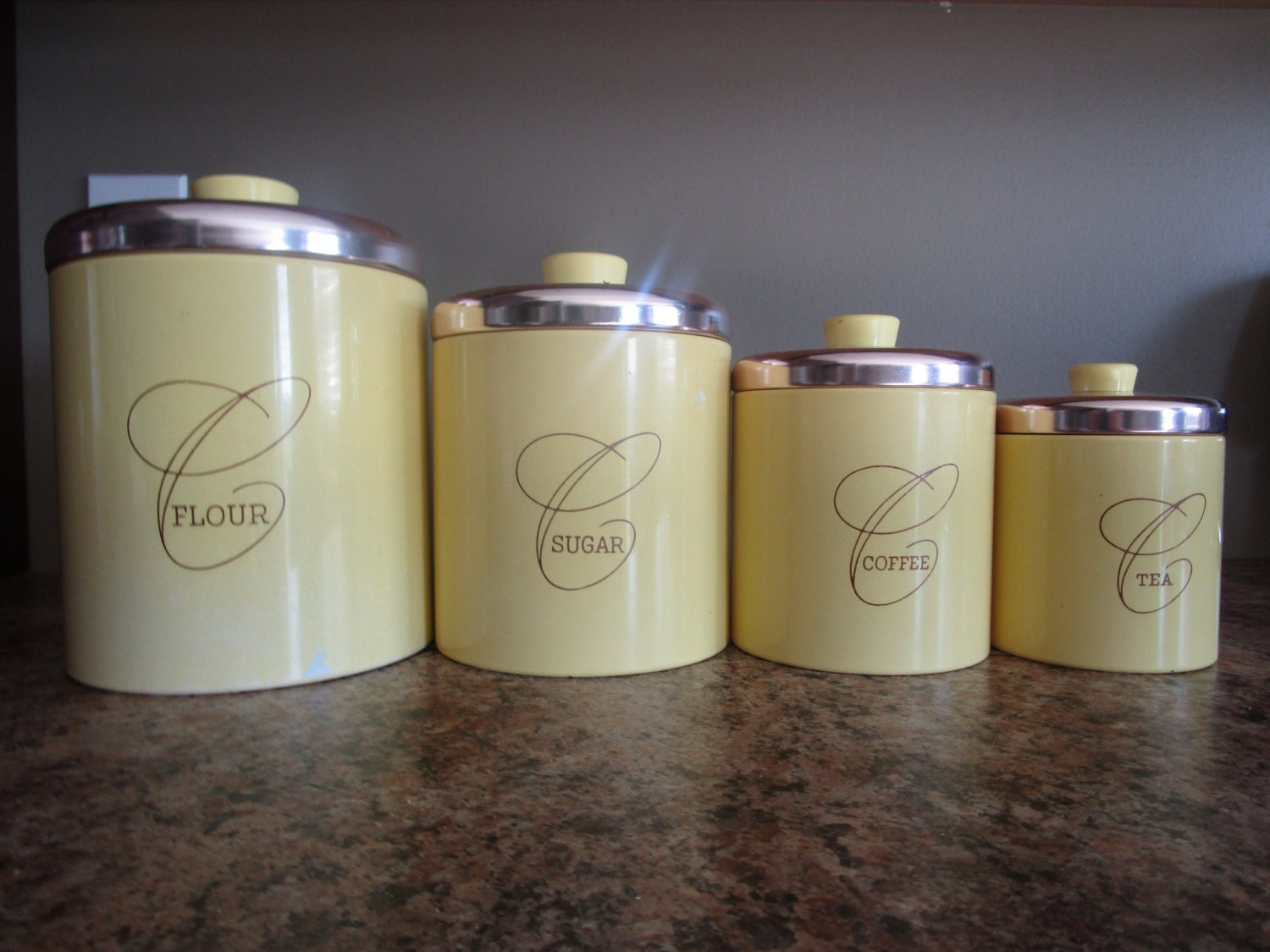 Red Canisters For Kitchen Metal Canister Set Yellow Canister Set Vintage Canisters