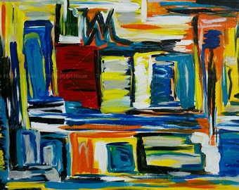 Urbaness - 40 x 30 x 3/4 inch Large Original Abstract Acrylic Cityscape Painting