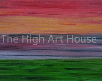 Green Meadow - 15 x 30 x 1.5 inch Original Abstract Oil Landscape Painting