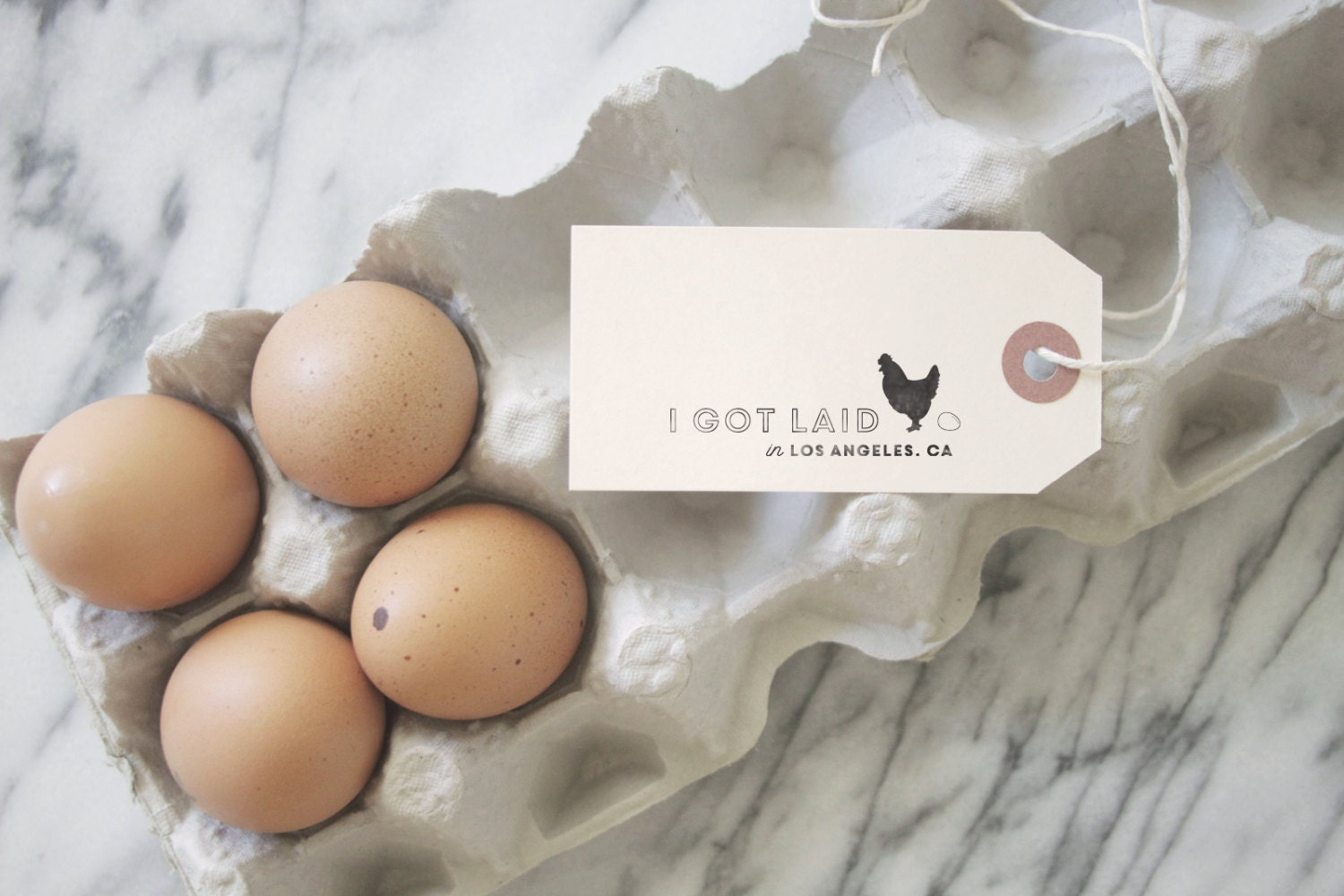Egg Carton Stamp Chicken Stamp I got Laid by SubstationPaperie