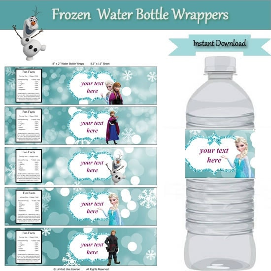 Frozen party water bottle label wrappers instant download for Water bottle label template free word