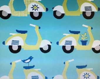 Scoot! Scoot! Blue - Fabric - Monaluna- Organic Cotton Fabric 1/2 Yard