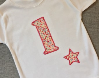 First Birthday number one t shirt, Beautiful floral applique tshirt by Two little peas and me