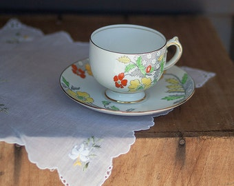Vintage English Grosvenor China Teacup and Saucer // Hand Painted Floral // Bridal Shower Wedding