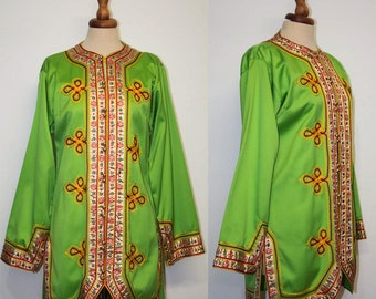 Late sixties green jacket / 1960s embroidered peas green / Sergeant Pepper style / 60s moroccan style jacket