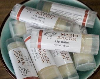 Makin Bacon Lip Balm - bacon scented, beeswax, lanolin, double butter lip balm