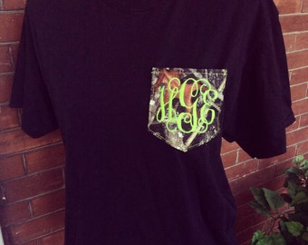 Camo Camoflauge Monogrammed Pocket Tee Shirt Great for Hunters Hunting Outdoor Girls Sports & More!