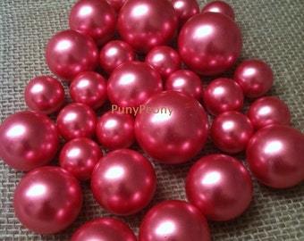 Hot Pink Fushia Loose Pearl Beads Balls(8-10-14-18-24-30mm) For Jewelry Repairs, Trinkets, Crafts/DIY Projects, Decorations