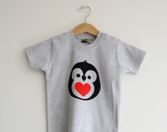 Baby t-shirts with colourful hand applied penguin design