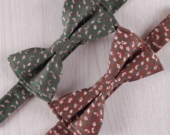 mens ties designer 4090  green brown floral print cotton vintage pre-tied adjustable bowties for men  wedding party groomsmen bowtie designer bow ties accessories+b22