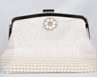 Pearl Clutch Bag, Evening Clutch, Bridal Clutch Bag, Custom Wedding Accessories c52