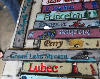 Town Signs, Custom Town Name Signs, Custom Signs, Upcycled Pallet Sign, Hand Painted Sign