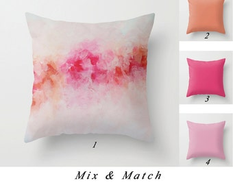 Art Pillow, Peony Pillow, Coral Pink Pillow, Red Pillows, Decorative Throw Pillow Covers, Cushions, Living Room Decor, Couch Pillows Sofa