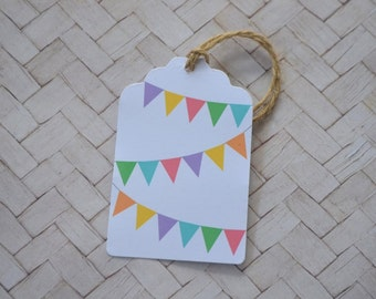 Rainbow Bunting Gift Tag