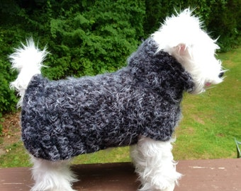 Angel Hair Smoke, Wool Dog Sweater, dog sweater, gray dog sweater, dog sweaters, small dog sweater, small dog sweaters, wool dog sweaters