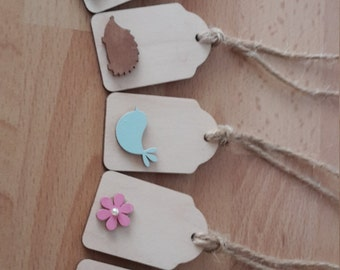 Wooden Gift Tag/Decorative Tag- Set of Five