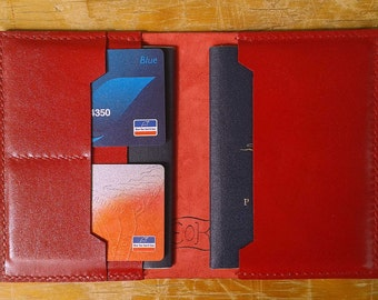 Passport cover travel wallet leather red