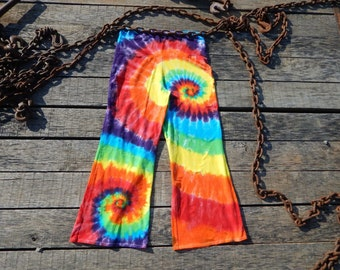 Custom dyed Wide leg Yoga Pants - Spiral - Tie dye - workout pants, yoga leggings, rainbow leggings, made in america, made in usa