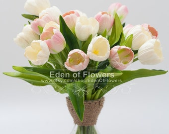 1 Stem Real Touch PU white and Pink Tulip, Artificial Silk Tulip, Bridal Bouquet, Bridesmaid Bouquet