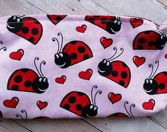 LadyBug Zipper Pouch, Lady Bug Pencil Holder, Make Up Bag,  Lady Bug Wristlet, LadyBug Gadget Pouch, School Supply Case, Lady Bug Purse