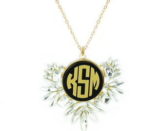Vienna Rhindstone Monogram Necklace