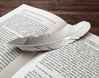 KOSHA feather bookmark, stainless steel in gift-box. Gift idea. Swiss made