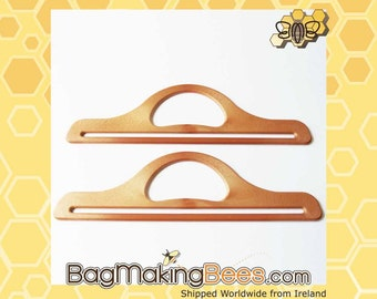 Long Bag Handles - Brown Wood Effect - (Sold By The Pair)