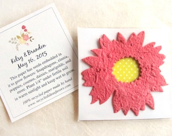 20+ Daisy Plantable Seed Paper Wedding Favors - Flower Seed Packet - Sunflower Seed Favor - Personalized Seed Envelopes